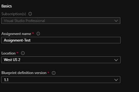 Azure blueprints info